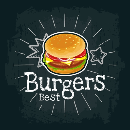 Burger include cutlet, tomato, cheese and salad. Vector flat illustration Stock Illustration - 79702332