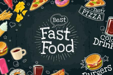 Poster fast food. Vector color flat illustration on dark background
