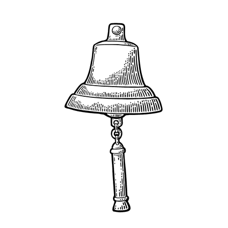 Bell from sailing ship isolated white background. Vector vintage engraving