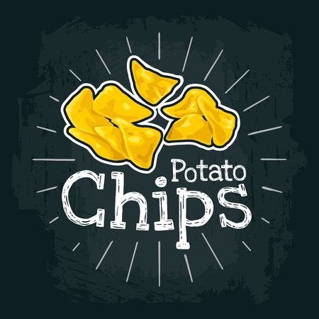 Potato Chips. Vector color flat illustration for poster, label and menu cafe fast food. Isolated on the black chalkboard with vintage white chalk engraving rays, lettering