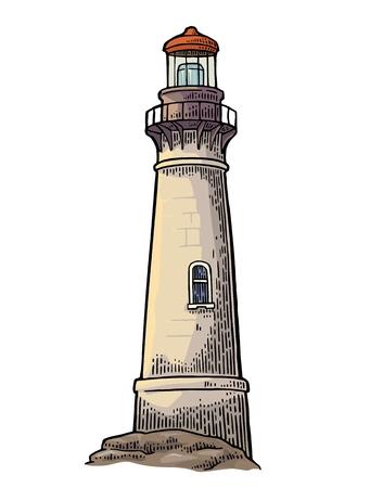 白い背景で隔離の灯台。ベクトル色ビンテージ彫刻イラスト。