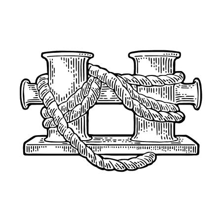 Dubbele meerpaalpaal voor schip. Vector zwarte vintage gravure illustratie voor tattoo, web- en label. Hand getekend in een grafische stijl. Geïsoleerd op witte achtergrond