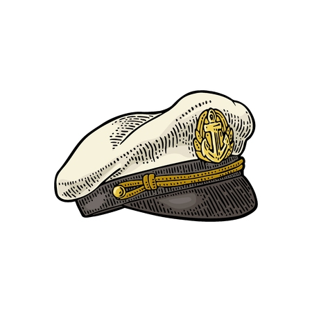 Captain hat isolated on white background. Vector color vintage engraving illustration for tattoo, web and label. Hand drawn in a graphic style.