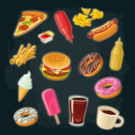 Set of fast food. Donut, ice cream, popsicle, pizza, hamburger, mustard, ketchup, pizza, hotdog, cup coffee and cola. Vector flat illustration for poster, menu, web and icon. Isolated on dark background