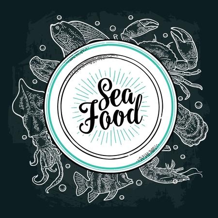 Square poster sea food. Vector vintage engraving illustration on dark background