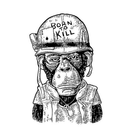 Affe mit Helm, Brille, Friedenszeichen, Schriftzug Geboren zu töten