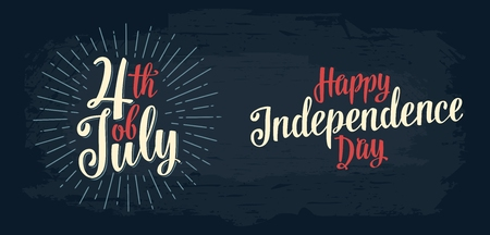 Happy Independence Day, 4th of July hand lettering inscription