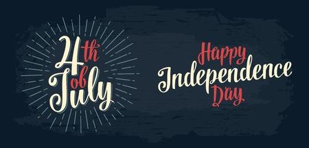 Gelukkige Independence Day, 4 juli handbriefing opschrift