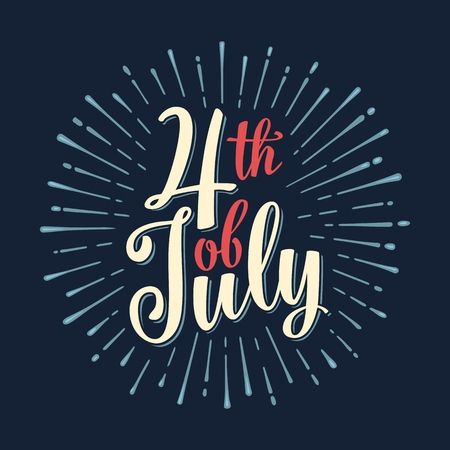 Fourth of July hand lettering inscription with rays. Independence day Illustration