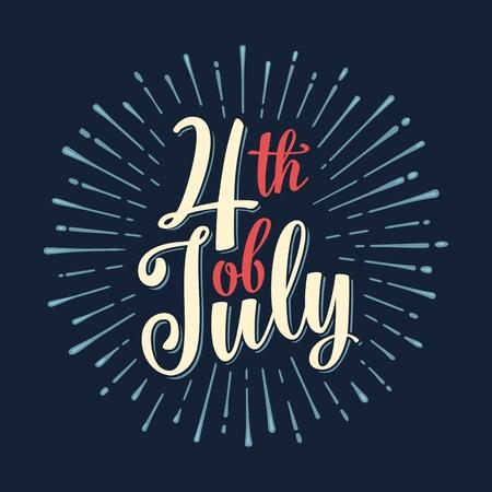 Vierde juli hand belettering inscriptie met stralen. Onafhankelijkheidsdag