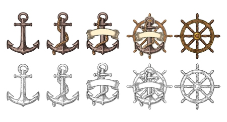 Anchor and wheel with ribbon isolated on beige background. Фото со стока - 80723503