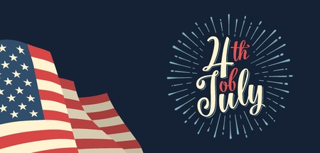 Fourth of July hand lettering inscription with firework. Independence day Illustration