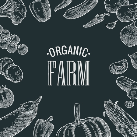 Set vegetables and organic farm lettering. Vector black engraving vintage Illustration