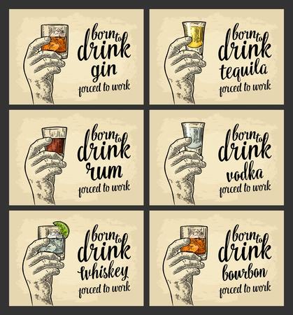 男性の手はビール、テキーラ、ウォッカ、ラム酒、ウイスキーと氷のキューブでガラスを保持しています。  イラスト・ベクター素材