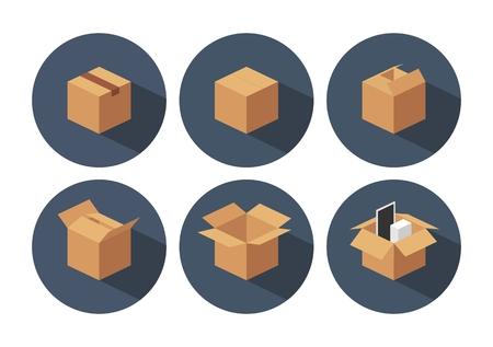 オープンとクローズド リサイクル茶色カートン配送包装箱。