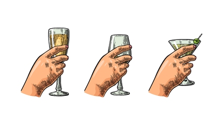 Female hand holding a glass of cocktail, wine, champagne.