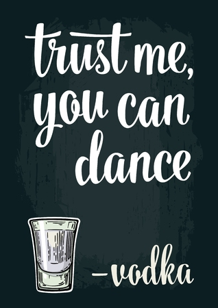 drink me: Glass vodka. Vintage vector engraving