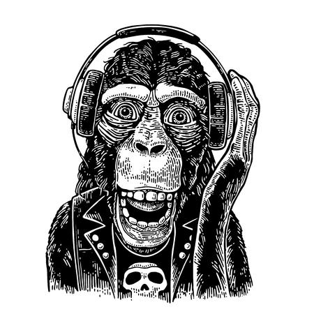 頭蓋骨とヘッドフォンと t シャツの猿のロッカー。ビンテージ彫刻