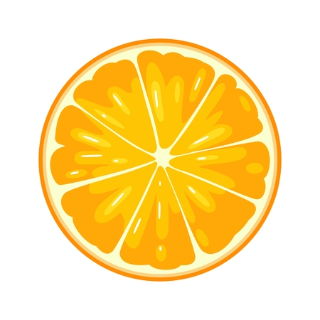 Round slice of orange. Isolated on white background. Vector flat color illustration
