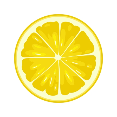 Round slice of lemon. Isolated on white background. Vector flat color illustration 向量圖像