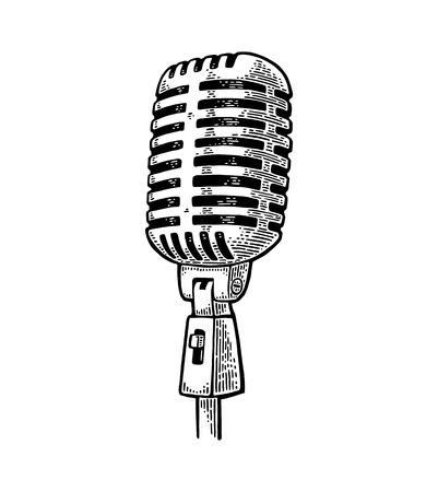 Microphone. Vintage vector black engraving illustration for poster, web. Isolated on white background. Imagens - 81892563