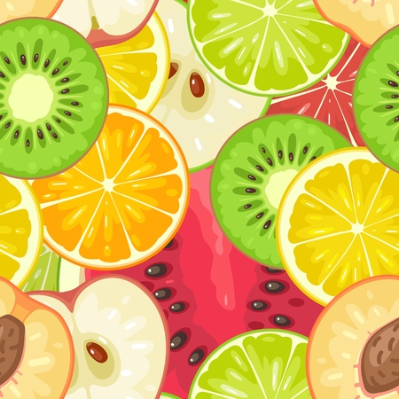 Seamless pattern fruits. Slice apple, kiwi, peach, watermelon, lime, lemon, orange Vector color vintage flat illustration