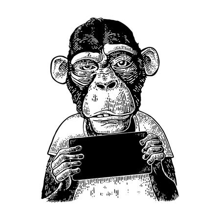 원숭이 테이블을 들고입니다. 포스터 빈티지 블랙 조각 그림입니다.
