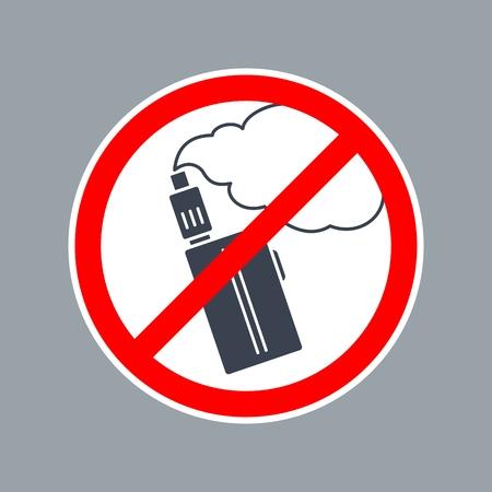 금지 기호 라운드 vape 또는 전자 담배 안에. 벡터 흰색 배경에 플랫 간단한 빨간색과 검은 색 그림을 벡터합니다. 일러스트