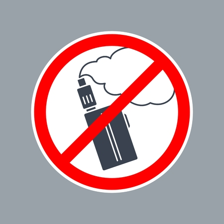 Prohibition sign no vape or e-cigarette inside of round. Vector flat simple red and black illustration on white background. Banco de Imagens - 82422901