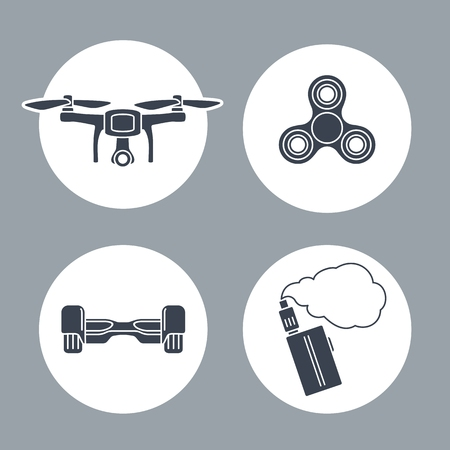 Set icon inside of round with Hoverboard, Drone, Spinner, Vape. Vector flat simple black illustration on white background.