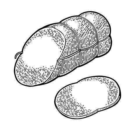Whole and slices boiled sausage. Vintage vector engraving illustration Illustration