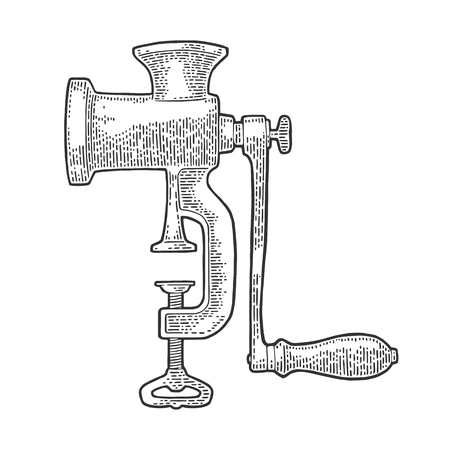 Vleesmolen. Vector zwarte vintage gravure Stock Illustratie