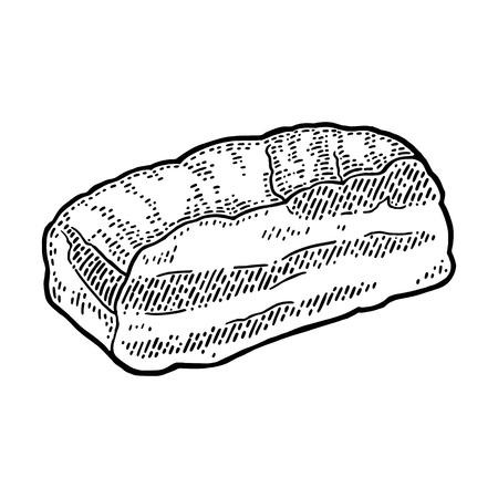 가슴살. 빈티지 검은 벡터 조각 그림입니다. 흰색 배경에 고립.