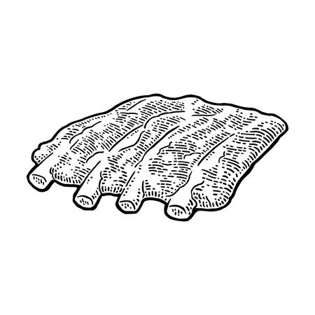 肋骨ビンテージ黒ベクトル図を彫刻します。