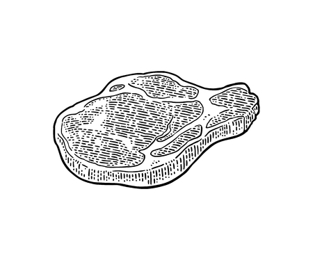 Beef steak with bone top view. Vintage black vector engraving illustration. Isolated on white background. Illustration