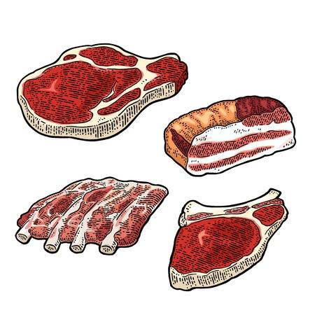 육류 제품 세트. 빈티지 색 벡터 조각 그림입니다. 일러스트
