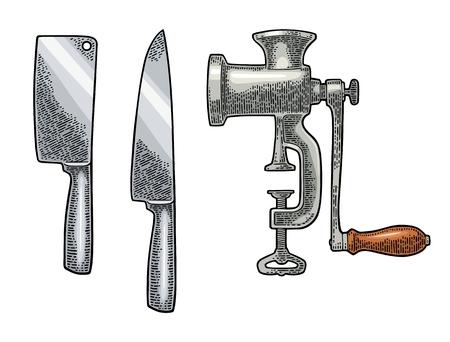 Set keukenknives en klassieke handmatige vleesgrind Stock Illustratie