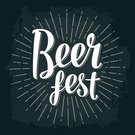 Beer fest lettering. Vector vintage engraving illustration