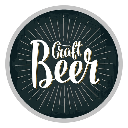 Beer fest lettering with rays. Vector vintage engraving illustration
