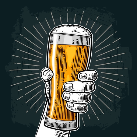 Male hand holding a beer glass. Vintage color vector engraving illustration for web, poster, invitation to party or festival. Isolated on dark background