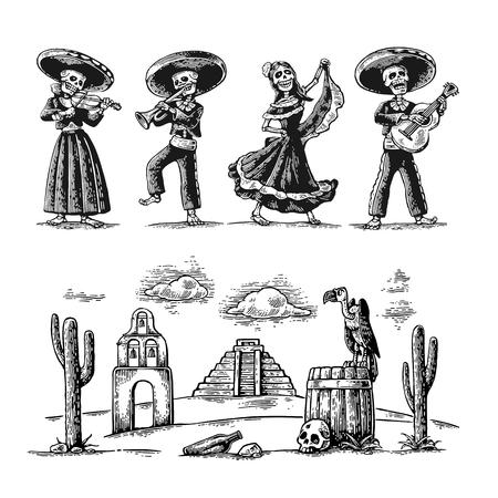 Día de los Muertos, Dia de los Muertos. El esqueleto de los trajes nacionales mexicanos bailan, cantan y tocan la guitarra.