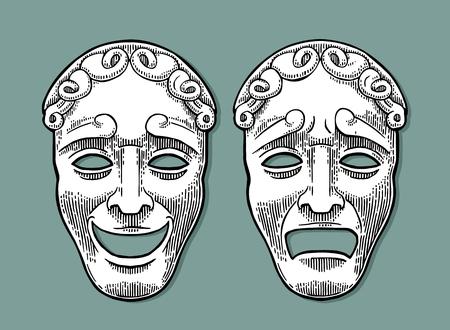 喜劇と悲劇の劇場マスク。ベクトル彫刻ヴィンテージ黒のイラスト。シャドウと青緑色の背景上に分離。  イラスト・ベクター素材