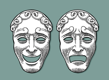 Comedy and tragedy theater masks. Vector engraving vintage black illustration. Isolated on turquoise background with shadow. Ilustração