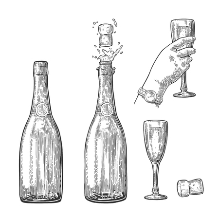 Bottle of Champagne explosion and hand hold glass.