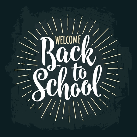 Welcome Back to School lettering with rays. Vector engraving