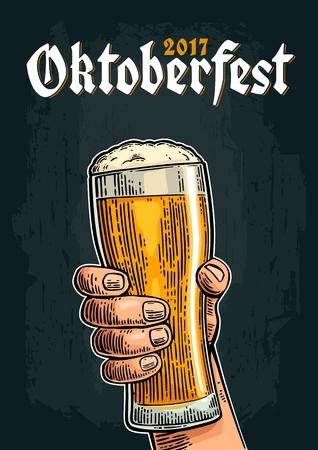 Male hand holding a beer glass. Vintage vector engraving illustration for web, poster, invitation to oktoberfest festival.