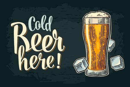 ここで冷たいビール書道レタリング。ビンテージ ベクトル彫刻図ガラスと氷のキューブ web、ポスター、パーティーへの招待、オクトーバーフェスト  イラスト・ベクター素材