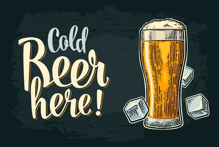 Cold beer here calligraphy lettering. Vintage vector engraving illustration glass and ice cube for web, poster, invitation to party and oktoberfest festival. Isolated on dark background. Illustration