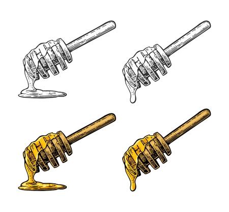 蜂蜜の木の棒から滴り落ちる。  イラスト・ベクター素材