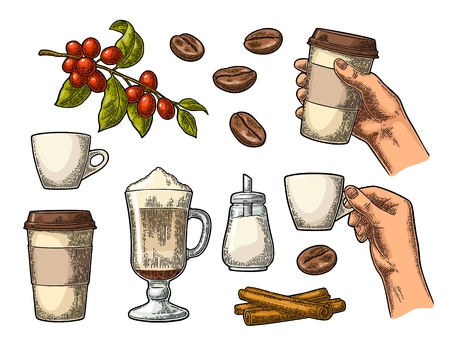 Set coffee glass latte Çizim